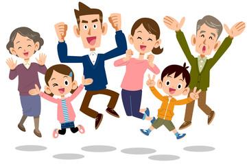 ジャンプする家族 三世代