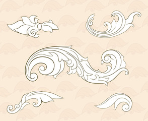Set of curls and scrolls for design