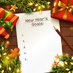 New Year's goals concept background with paper sheet. Wooden table decorated with gift box, Christmas tree branches and garland lights. To do list with place for text. Top view. Vector template.