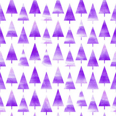 Background of watercolor Christmas tree. Seamless pattern. Violet Christmas background.