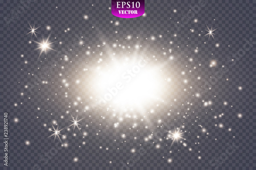 Glow light effect  Starburst with sparkles on transparent