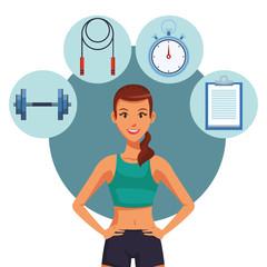 Fitness woman cartoon