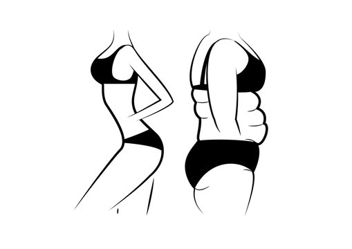 slim and fat women figure isolated on the white background, outline style horizontal vector illustration