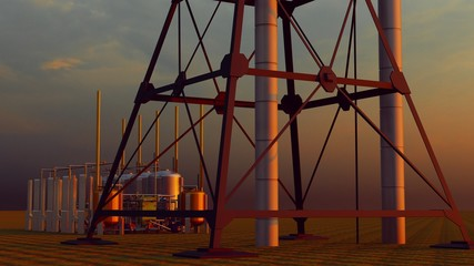 oil and gas processing plant 3d rendering