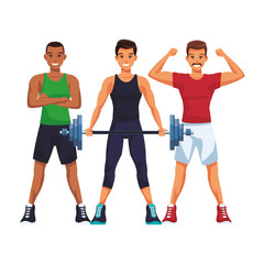 fit men doing exercise