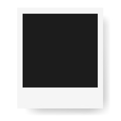 Realistic photo frame, isolated on white background. Mockup