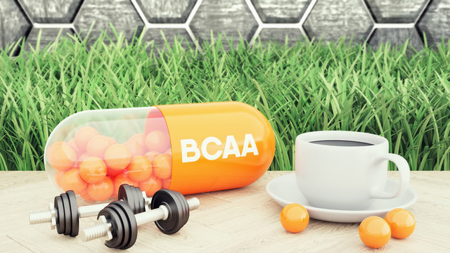 BCAA branched-chain amino acid capsiule, Two dumbbells and a cup of coffee. Sport nutrition for bodybuilding 3d illustration