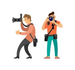 Paparazzi Journalist Making Photos on Cameras