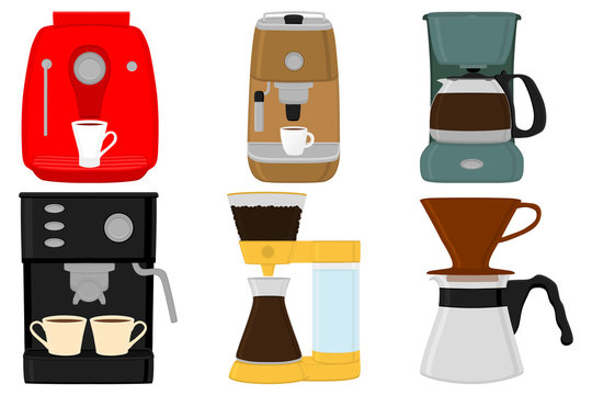 Illustration on theme big colored set different types coffee machine