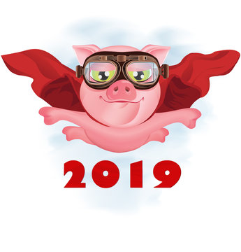 Flying super-pig in a red cloak. Greeting Christmas card. Vector illustration
