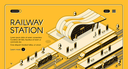 Railroad transport company isometric vector web banner with high-speed and freight trains stopping on futuristic design railway station line art illustration. Modern city transport hub landing page Fotomurales