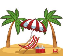Beach scenery cartoon