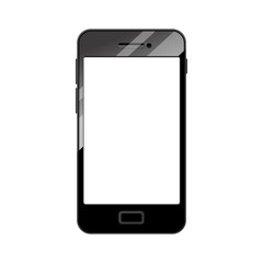 Empty smartphone mock-up in realistic style isolated on white.  Vector Illustration