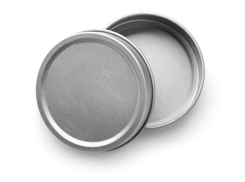 Top view of empty metal round container