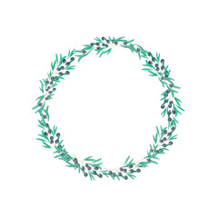 olive and dove floral illustration - olive branch frame wreath for wedding stationary, greetings, wallpapers, fashion, backgrounds, textures, DIY, wrapping, postcards, logo, branding,