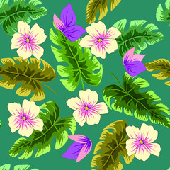Tropical plants leaves and flowers. Seamless beach pattern on black background wallpaper.