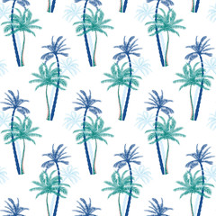 Beautiful bright exotic tropical summer pattern with palm trees background. Perfect for greetings card, textile, wallpapers, wrapping paper Seamless tropical pattern.