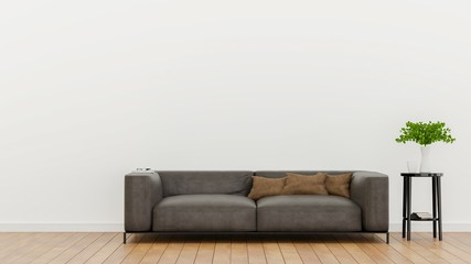 Empty living room with white wall and Light gray leather sofa, Minimal Rustic,3D Rendering