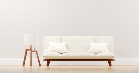 The interior has a White sofa on empty white wall background, Minimal Rustic, 3D rendering