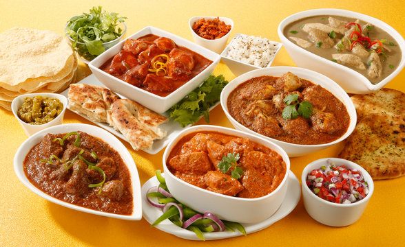 INDIAN CURRY SELECTION  CLOSE UP FOOD IMAGE