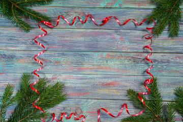 Christmas and happy New year. Rustic style.