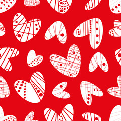 Contemporary funky stencil effect white hearts seamless vector pattern on red background. Great for Valentine's Day,gifts and decor for girls, giftwrap, scrapbooking and commercial projects.