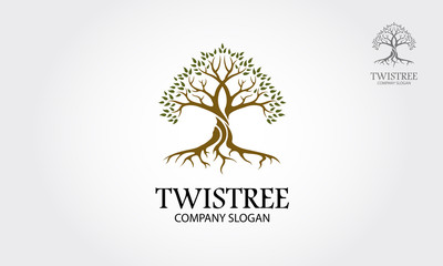 Twistree Vector Logo Template.  A stylised tree icon symbol concept illustration. - Vector