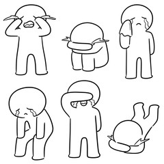 vector set of crying people