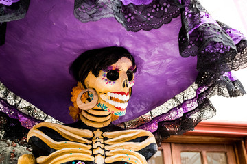 Catrina Skeleton Glammed-up for Day of the Dead in Mexico City