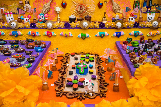 Altar of Miniatures for Day of the Dead in Mexico City