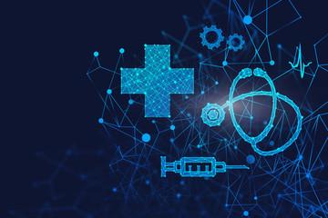 Blue medical interface over dark blue
