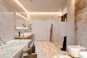 Interior design of a bathroom, 3d illustration in a Scandinavian s