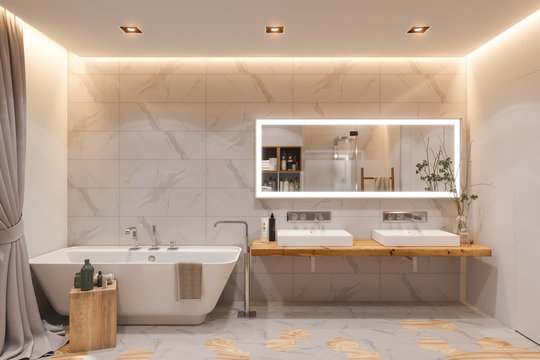 Interior design of a bathroom, 3d illustration in a Scandinavian s