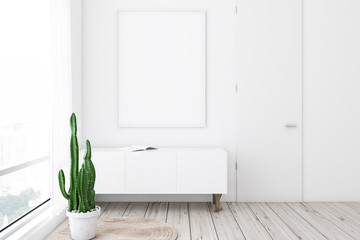 White living room, closet and poster