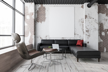 Grunge living room, sofa and armchair, poster