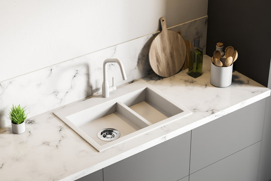 White marble kitchen sink, top view