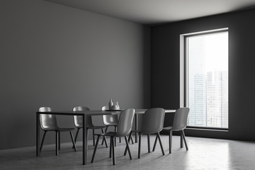 Gray dining room interior