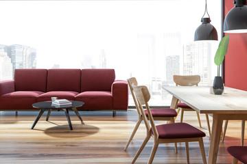Panoramic living room, red sofa