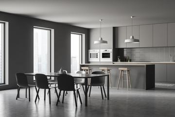 Gray kitchen corner, bar and table