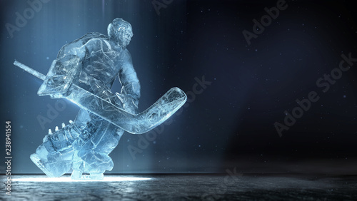 Translucent Ise Sculpture Of Ice Hockey Goalie In Dinamic Pose With