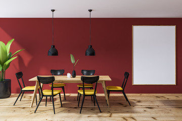Red dining room interior, poster