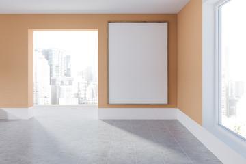 Empty orange room with poster
