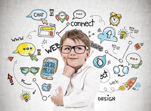 Little boy in glasses, social media