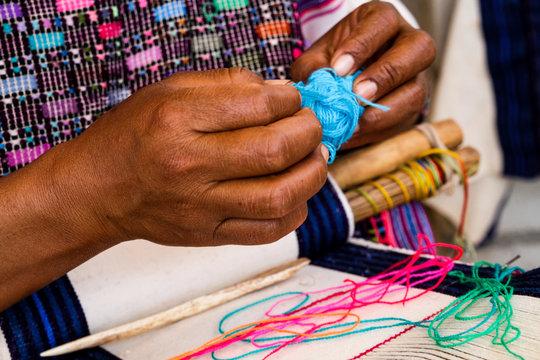 Mayan Woman Weaving on Belt Loom in Chiapas, Mexico