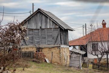 Old house in the village on the mountain in sunset. Mountain Besnjaja near the Kragujevac - Serbia