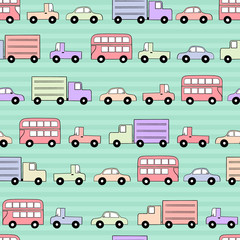 Seamless Vector Pattern of Traffic in Pastel Colors