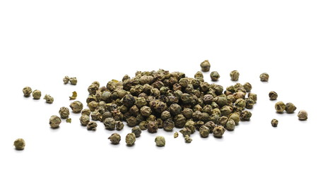 Garden Poster Spices Dry green pepper pile, peppercorn isolated on white