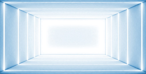 White empty room, light lines, white neon. 3D rendering