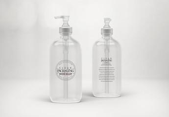 Clear Plastic Pump Bottles Mockup