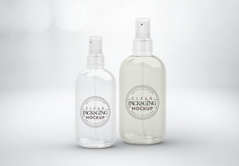 Clear Plastic Spray Bottles Mockup